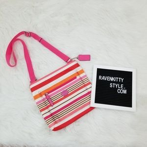 Coach Hot Pink Stripe Nylon Crossbody Purse